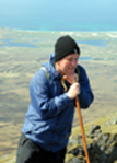 The Reverend Roddy MacAulay at the summit of Ben More, South Uist.