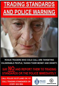 Trading Standards and Police Warning Poster warning of Rogue Traders